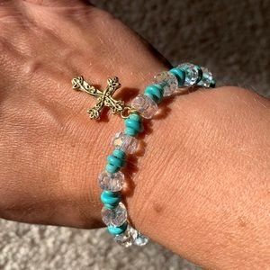 NWOT Clear and Turquoise Bracelet with Cross Charm